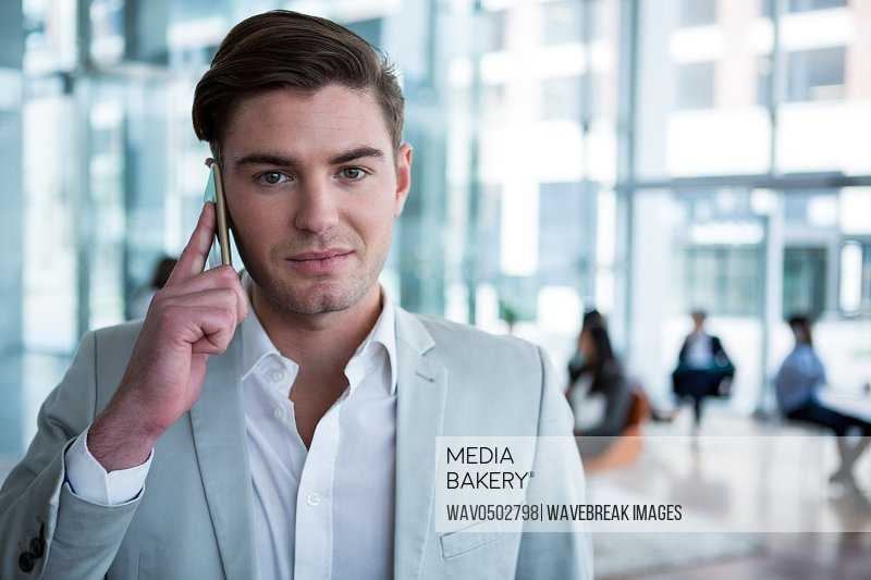 Portrait of businessman talking on mobile phone in the office