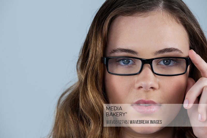 Portrait of beautiful woman wearing spectacles