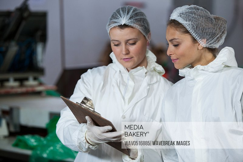 Female butchers discussing over clipboard