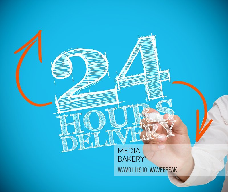 Businessman writing 24 hours delivery/n