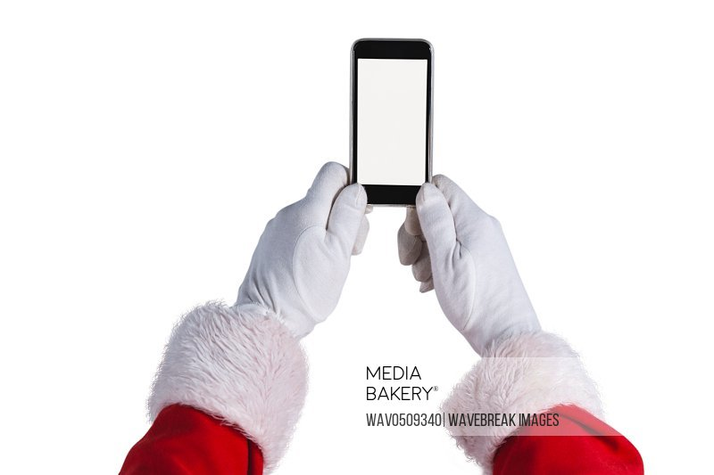 Santa claus holding mobile phone
