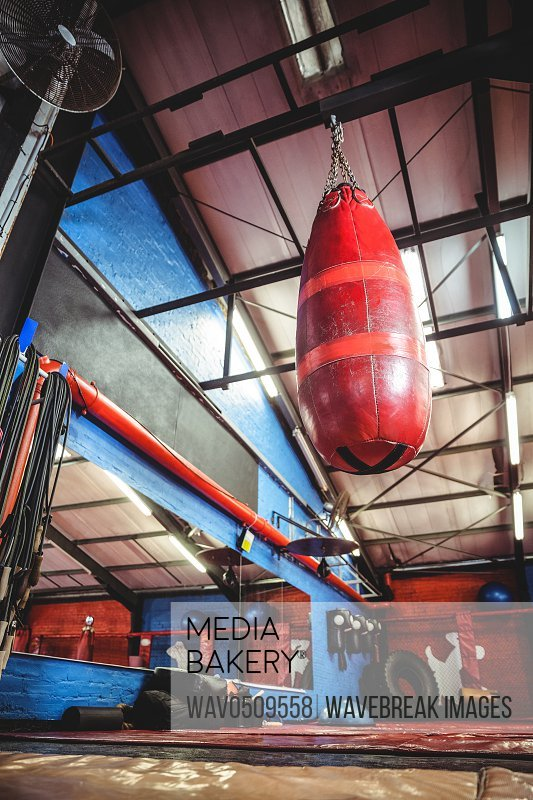 Punching bag hanging from ceiling in fitness studio