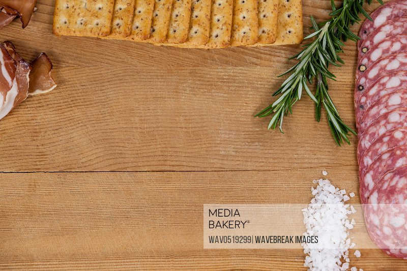 Ham biscuits rosemary and salt on chopping board