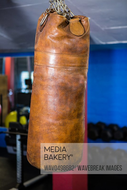 Close-up of punching bag in gym