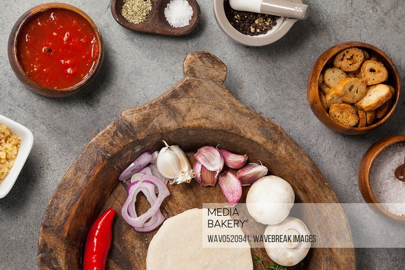 Ingredient with pizza dough