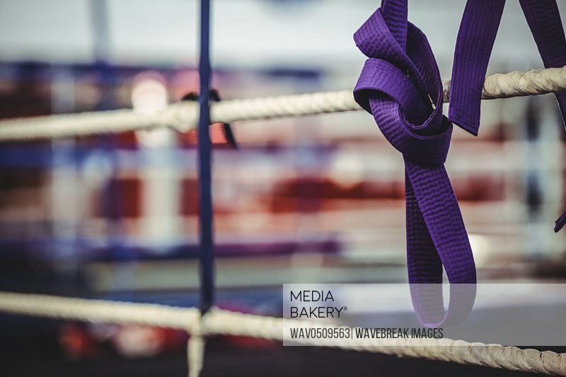 Close-up of karate purple belt hang off the rope