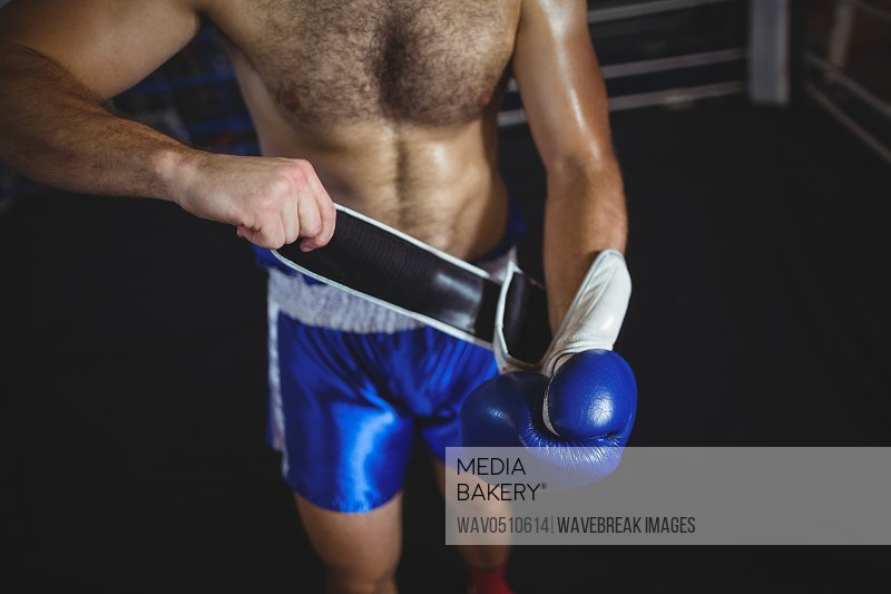 Mid section of boxer wearing boxing gloves in boxing ring