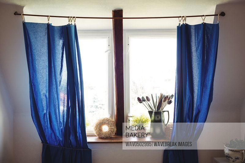 View of curtain and window at home