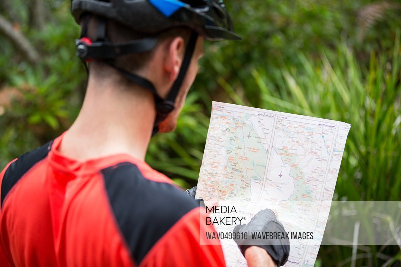 Male cyclist looking at map in countryside
