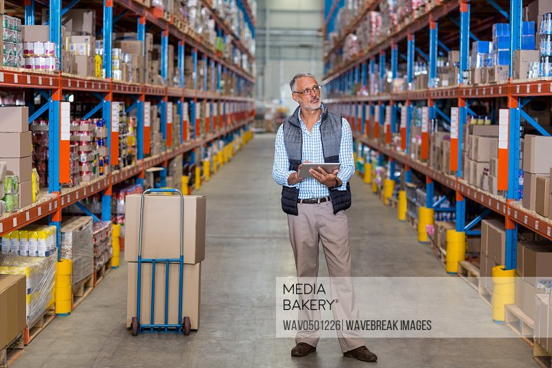 Warehouse manager holding digital tablet in warehouse
