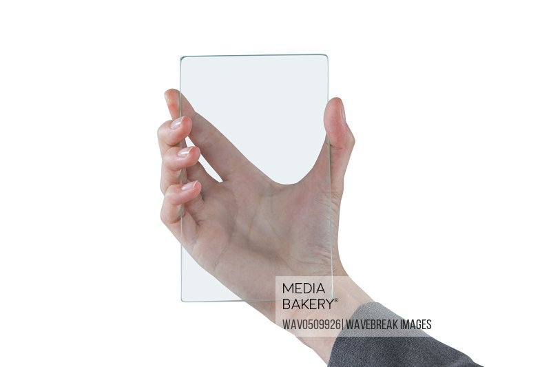 Close-up of hands pretending to hold mobile phone against white background