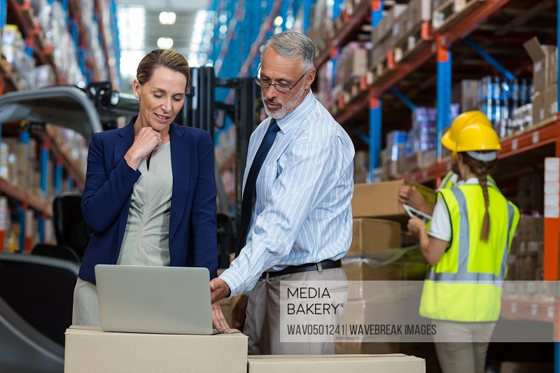 Portrait of warehouse manager and client interacting over laptop in warehouse
