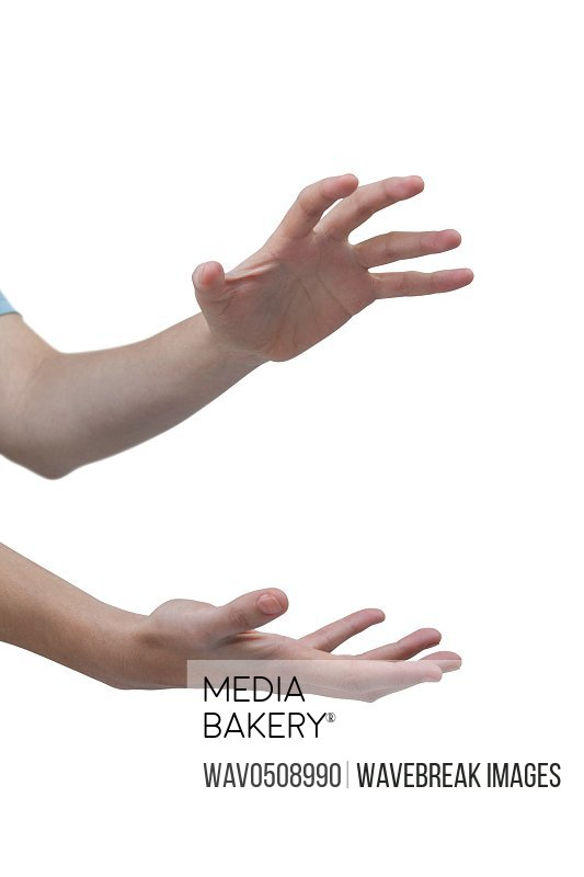 Hands gesturing against white background