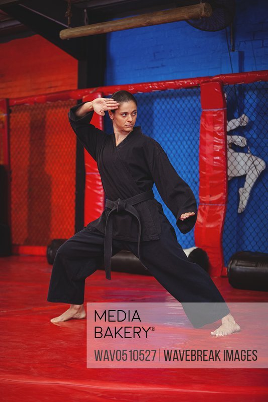 Female karate player performing karate stance in fitness studio