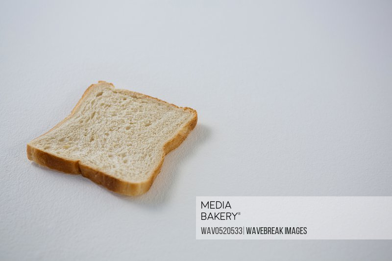 Single bread slice on white background