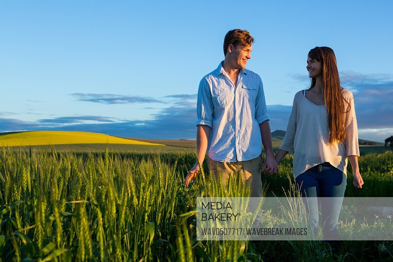 Couple holding hands in field on a sunny day