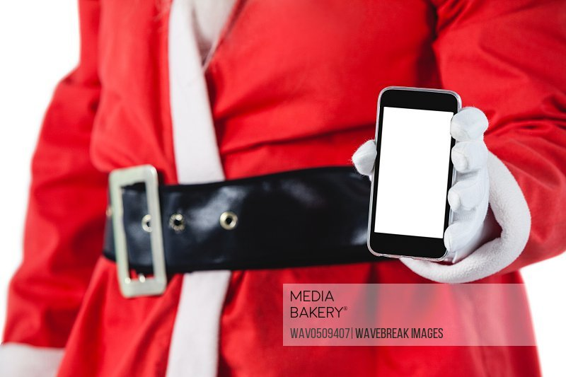 Santa claus showing mobile phone against white background