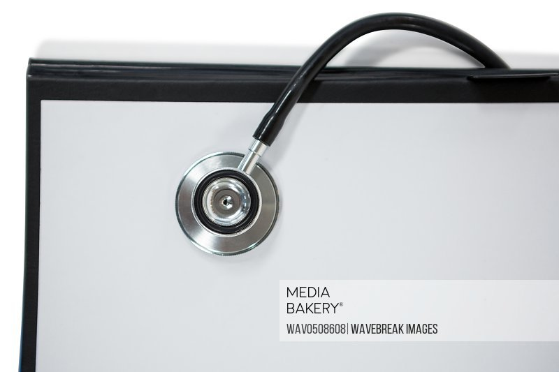 Close-up of clipboard with stethoscope