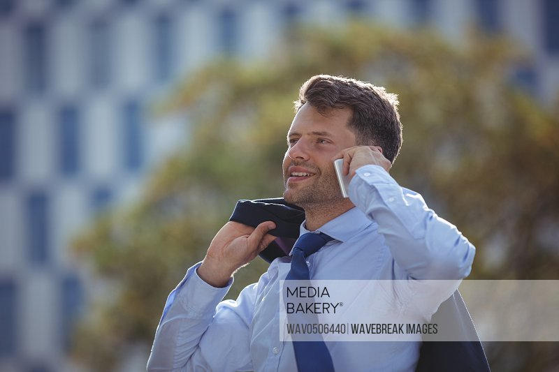 Handsome businessman talking on mobile phone near office building