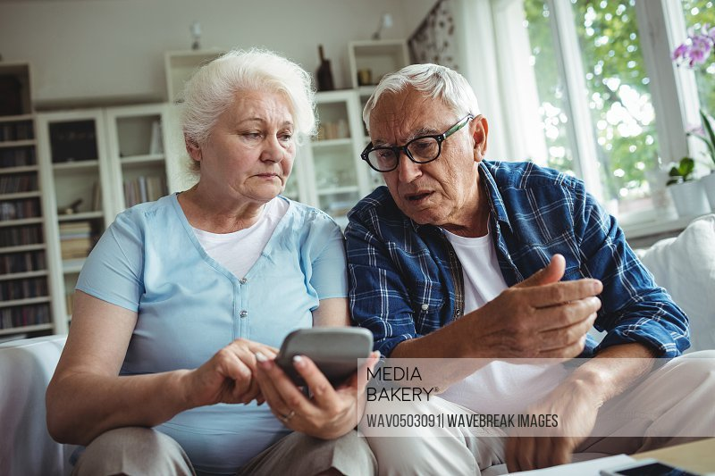 Worried senior couple interacting while checking the bills at home