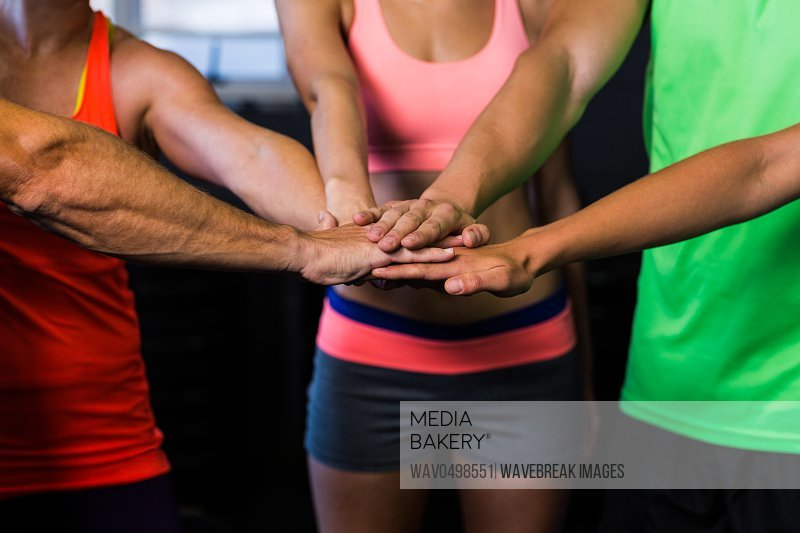 Cropped image of athletes putting hands together while standing in gym