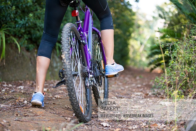 Low section of female cyclist cycling in countryside