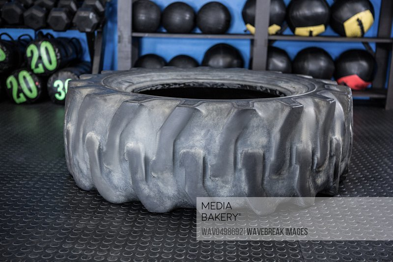 Rubber tire on floor in gym