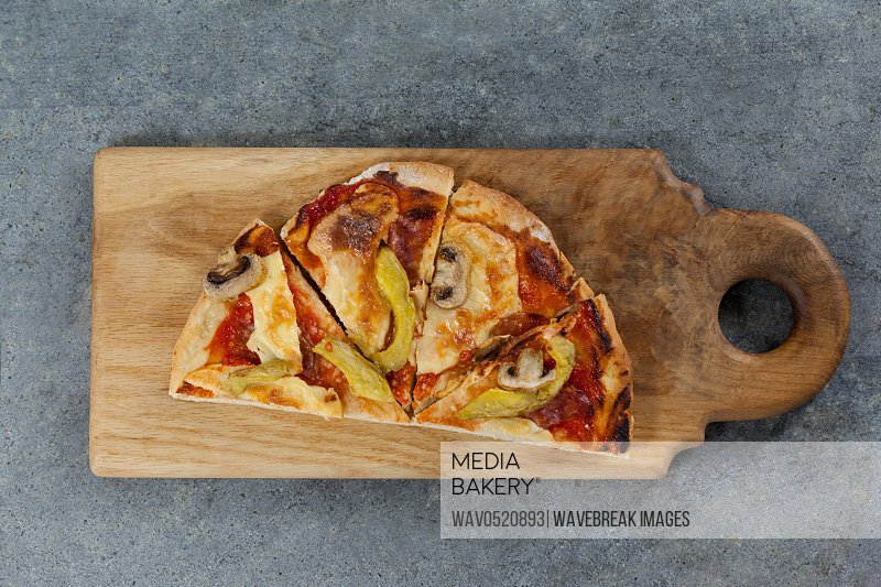 Delicious italian pizza served on grey background