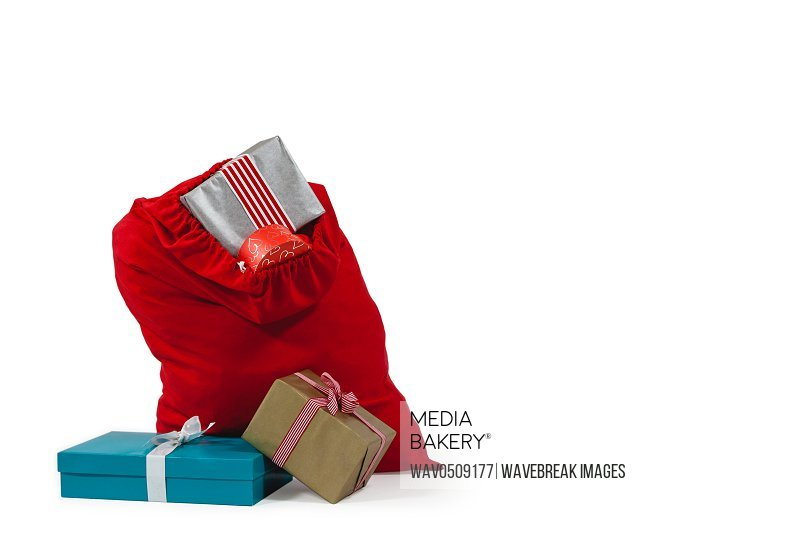 Santa bag filled with surprised gifts