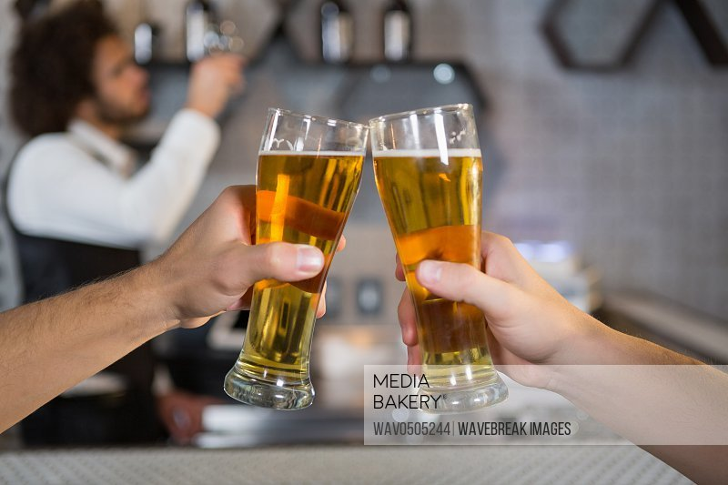 Two men toasting a glass of beer in bar