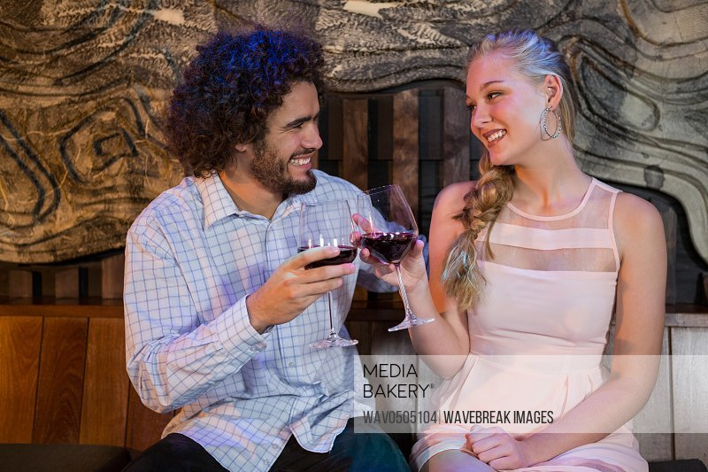 Smiling couple toasting a glass of wine in bar