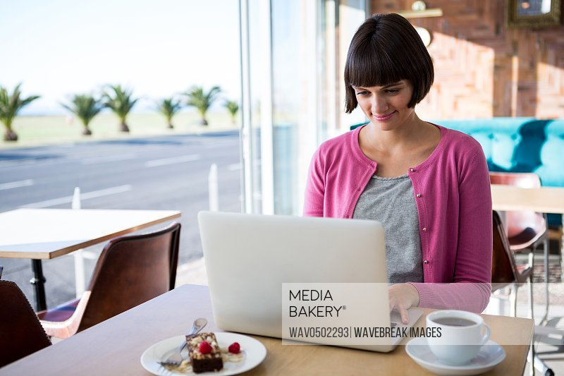 Smiling woman using laptop in the coffee shop