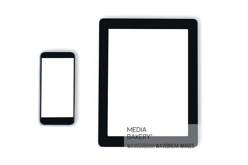 Mobile phone and digital tablet against white background
