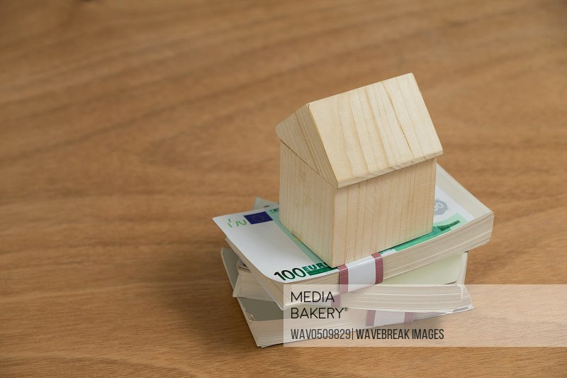 Model house on a pile of money on wooden plank