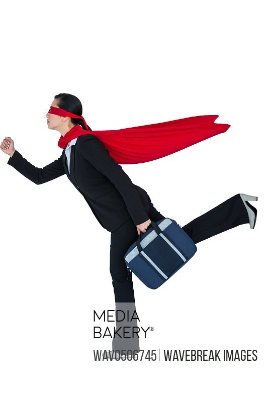Woman pretending to be a super hero on white background