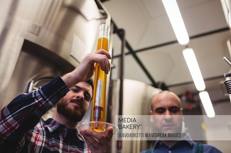Low angle view of manufacturer examining beer in tube at brewery