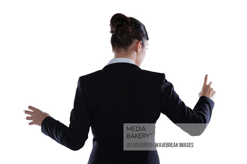 Rear view of businesswoman using digital screen