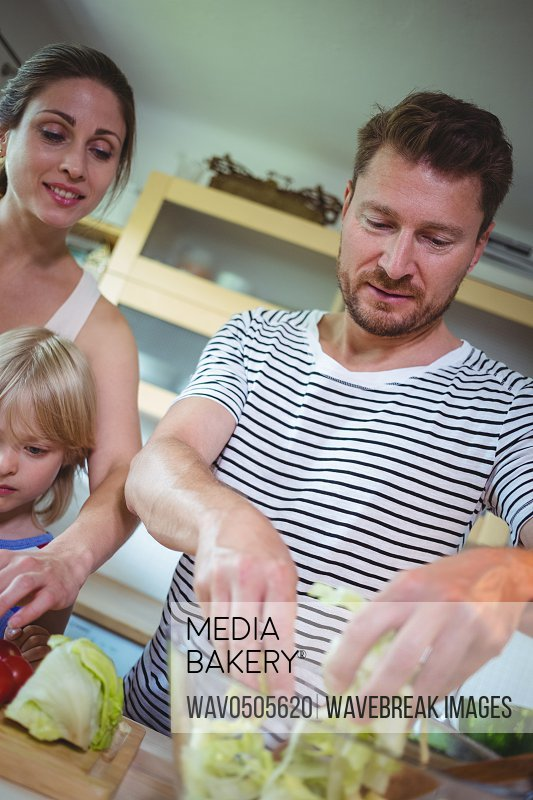 Family preparing salad in the kitchen at home