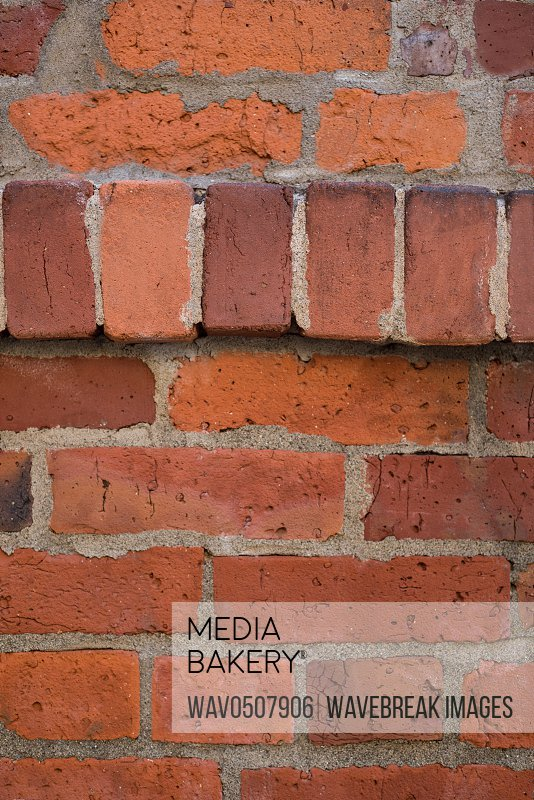 Close-up of new brick wall background full frame