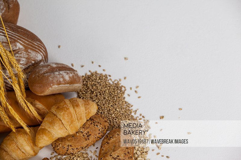 Various bread loaves with wheat grains