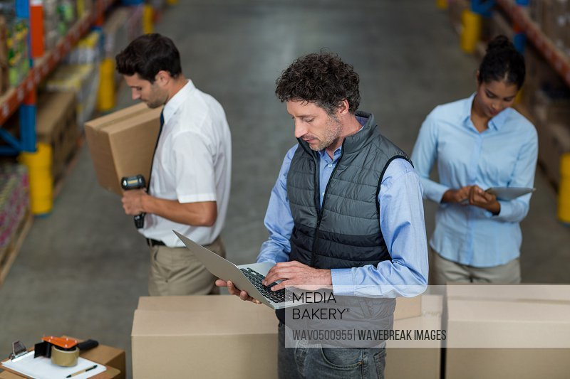 Warehouse team preparing a shipment in the warehouse