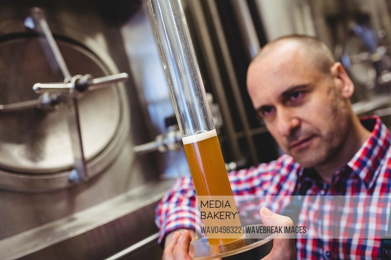 Owner inspecting beer in glass tube at brewery