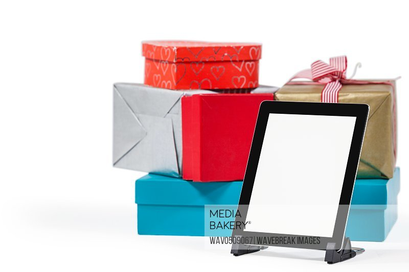Christmas presents with digital tablet