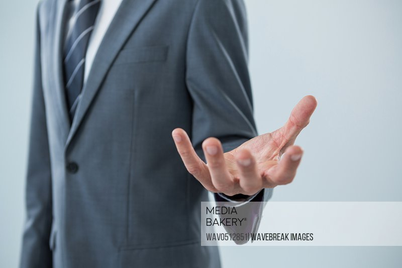 Mid section of businessman making hand gesture
