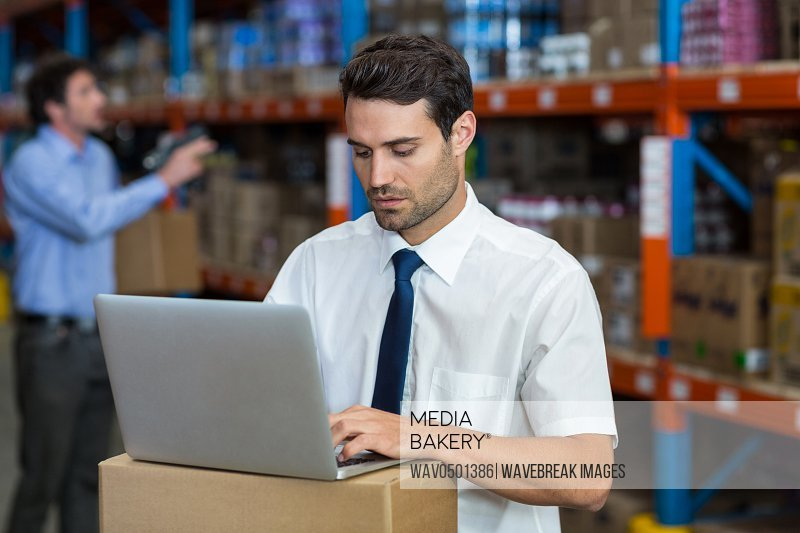 Warehouse manager working on laptop in warehouse