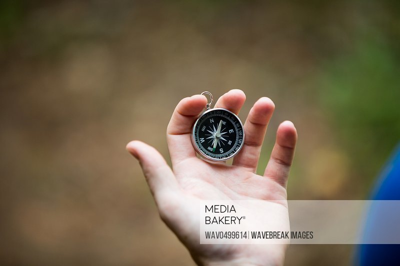 Close-up of hand holding compass in forest