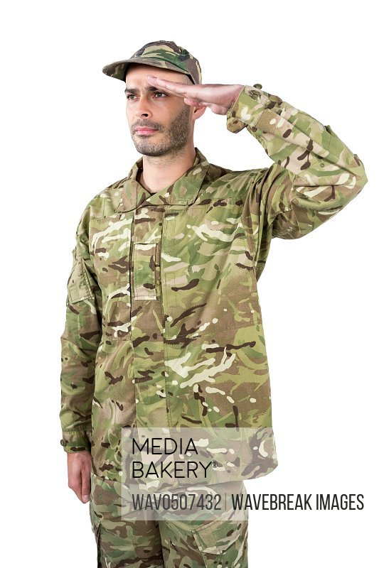 Confident soldier saluting against white background