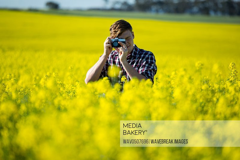 Man taking picture from camera in mustard field on a sunny day