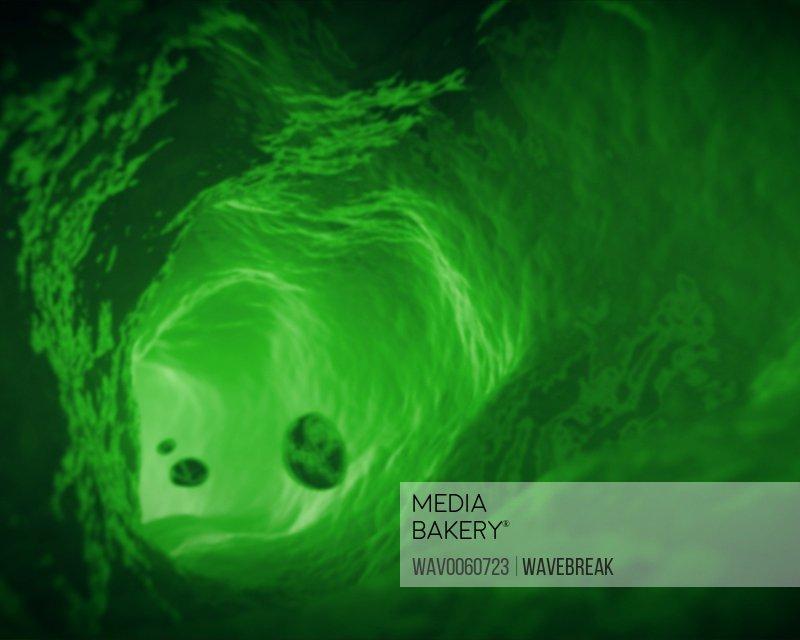 Interior of vein in green