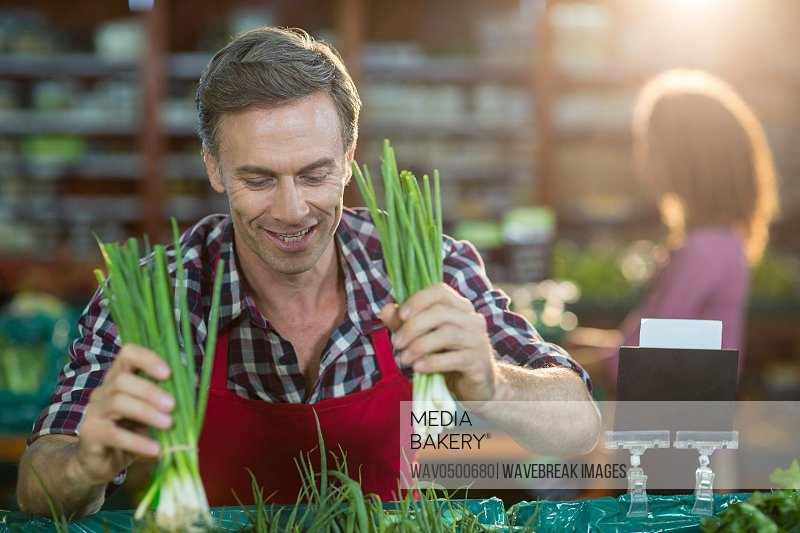 Smiling staff arranging vegetables in organic section of supermarket